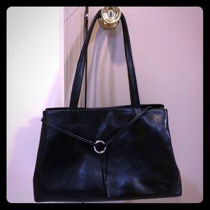 Kenneth Cole Lanyard Satchel Bag - Black Leather